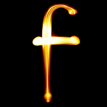 F - Created by light alphabet - lower case character Stock Photo - 7524295