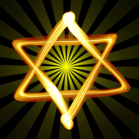 channukah: Star of David created by light close-up
