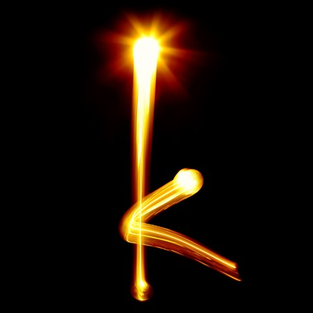 latin language: K - Created by light alphabet - lower case character Stock Photo