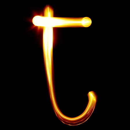 educaton: T - Created by light alphabet - lower case character