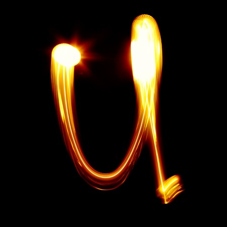 torch light: U - Created by light alphabet - lower case character Stock Photo