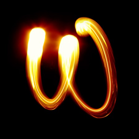 torch light: W - Created by light alphabet - lower case character