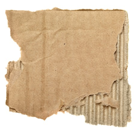 torned: Scrap of cardboard isolated over the white background Stock Photo