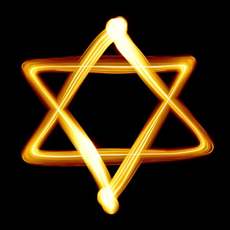 jewish star: Star of David created by light close-up