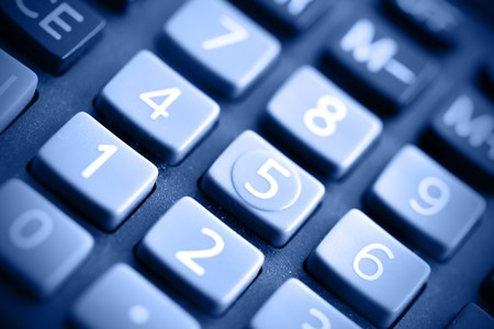 colo: Buttons of calculator toned in blue colo Stock Photo