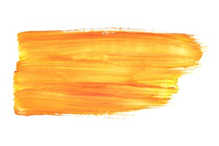 own: Orange watercolor brush strokes - space for your own text Stock Photo