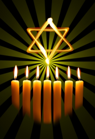 purim: Menorah and star over the black background
