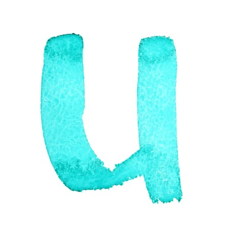 U - Watercolor letters (Lower case) isolated over the white background photo
