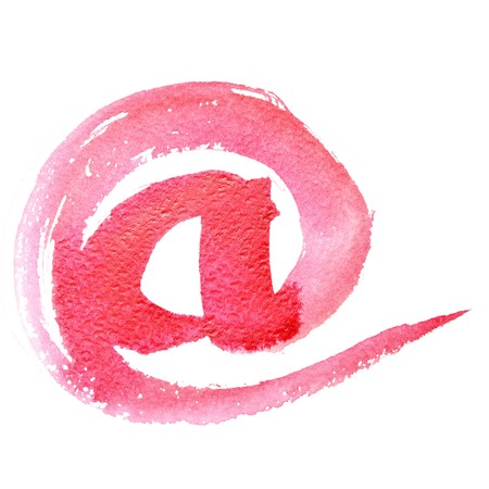 E-MAIL SIGN - Watercolor letters (Lower case) isolated over the white background photo