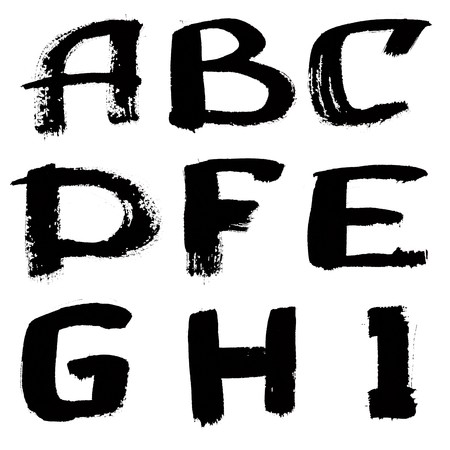 Hand written black ink alphabet over the white background photo