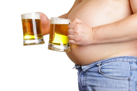 Man with two beer mugs isolated over white baclground Stock Photo - 7724941