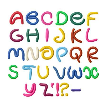 Colorful plasticine alphabet isolated over white background