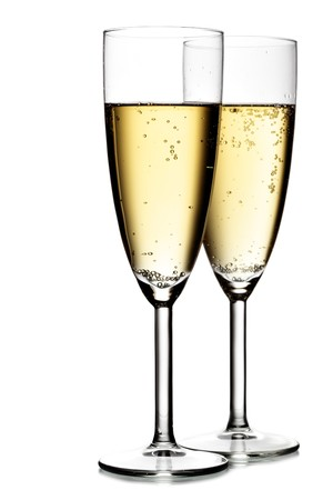Two glasses of champagne isolated over the white background  photo