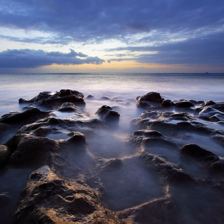 Beautiful sunset over Atlantic Ocean. Tenerife, Canary Islands. photo