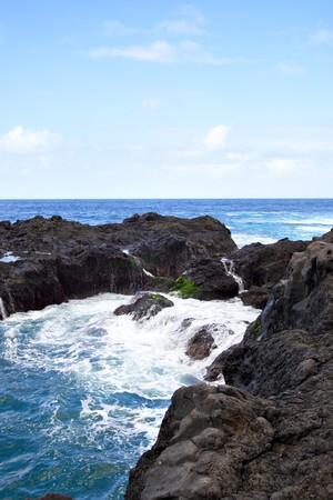 View of volcanic coast near Garachico, Tenerife Island  photo