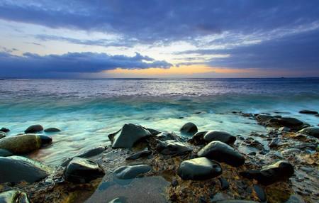 nightfall: Beautiful sundown over Atlantic Ocean. Canary Islands. Stock Photo