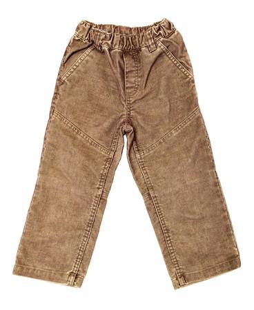 children's wear: Childrens wear - velvet pants isolated over white background (rear view)
