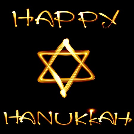 jewish star: Created by light text Happy Hanukkah and jewish star over black background