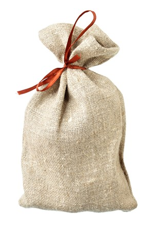 hessian: Small sack isolated over the white background