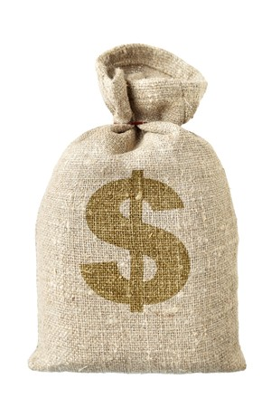 hessian bag: Money-bag with dollar symbol isolated over the white background Stock Photo