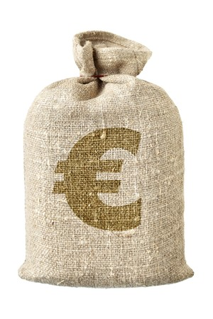 Money-bag with euro symbol isolated over the white background photo