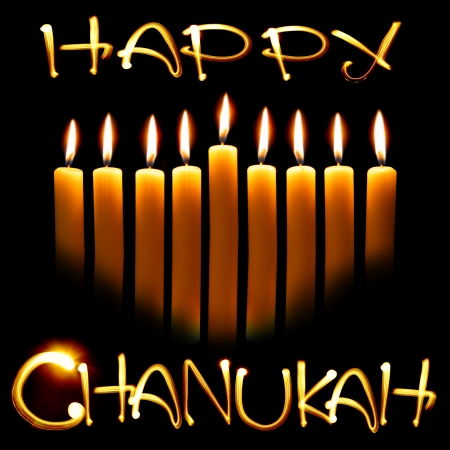menorah: Created by light text Happy Chanukah and candles over black background