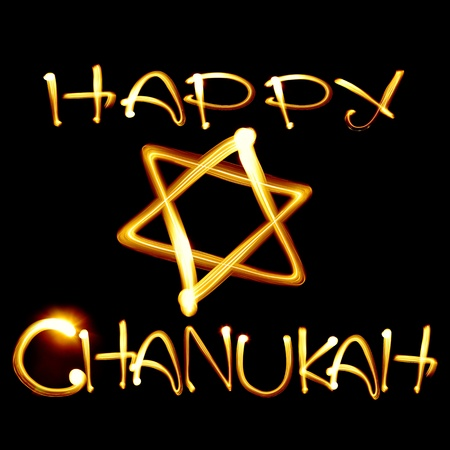 jewish star: Created by light text Happy Chanukah and jewish star over black background