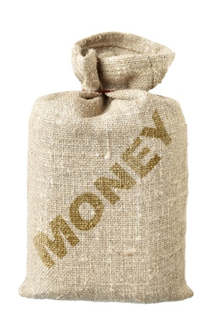 Money-bag close-up isolated over the white background Stock Photo - 8243125