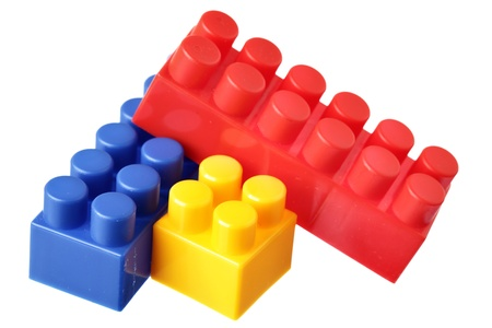 Colorful blocks isolated over the white background photo