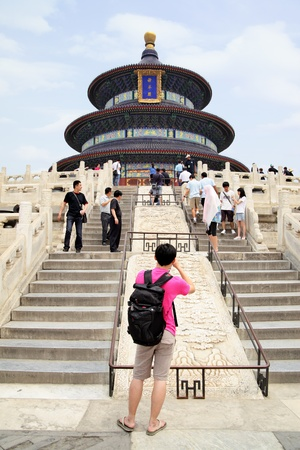 BEIJING - JUNE 1: Tourists to see the sights of The Temple of Heaven (Tian Tan) June 1, 2010 in Beijing, China.