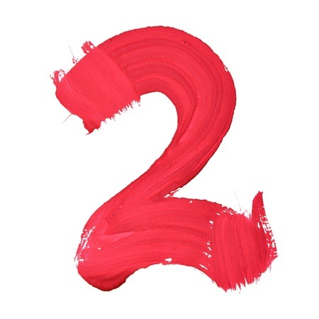 two stroke: 2 - Red handwritten digits over white background