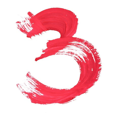 number three: 3 - Red handwritten digits over white background Stock Photo