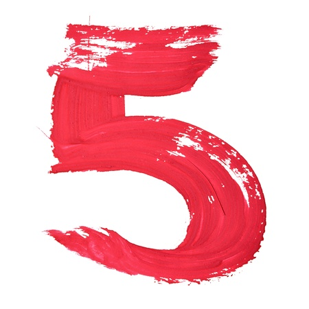 number five: 5 - Red handwritten digits over white background