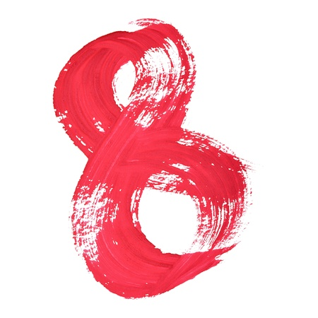 8 - Red handwritten digits over white background photo