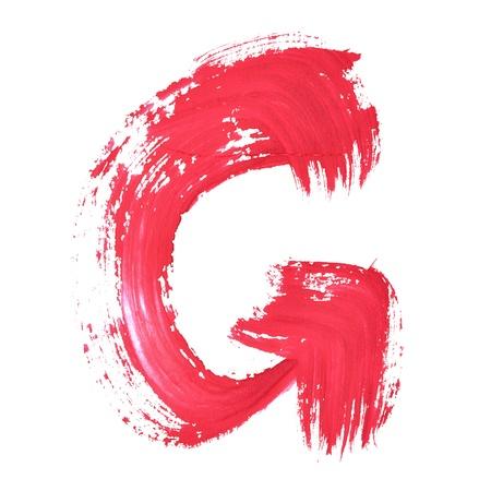 educaton: G - Red handwritten letters over white background