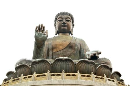 cabeza de buda: Buda gigante aislado sobre fondo blanco. Hong Kong Foto de archivo