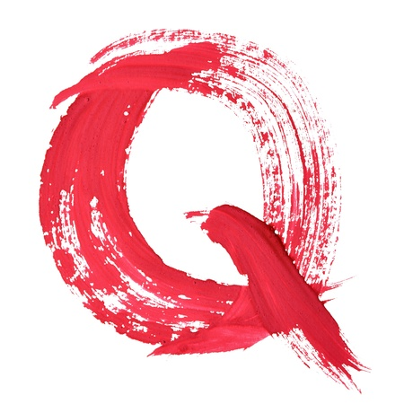 Q - Red handwritten letters over white background photo