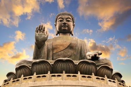 kong: Giant Buddha sitting on lotusl. Hong Kong