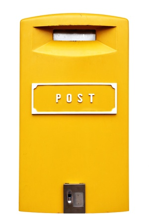 Yellow mail box isolated over the white background photo