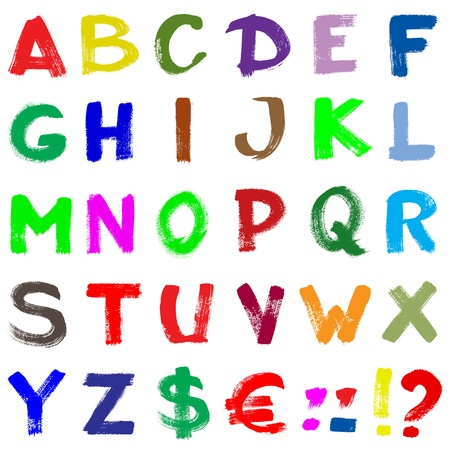 Colorful hand-written alphabet isolated over white background
