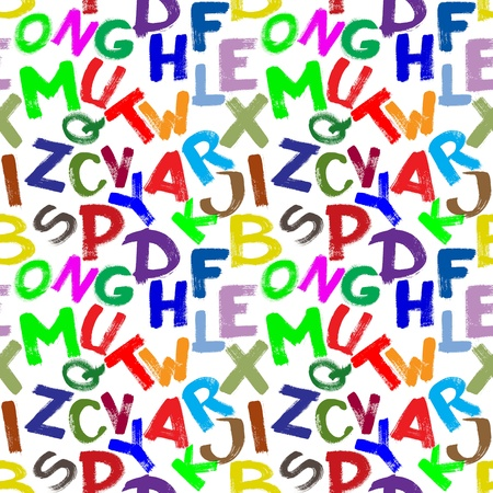 hand made pictured: Seamless pattern - Colorful alphabet over white background Stock Photo
