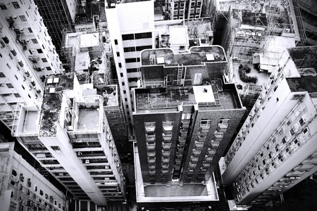 above view: District at Hong Kong, view from skyscraper. Black and white image