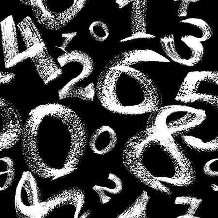 Seamless pattern - White digits over the black background  Reklamní fotografie