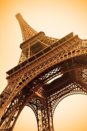 paris france: Eiffel tower sepia toned, Paris, France. Stock Photo