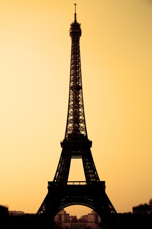 The Eiffel tower sepia toned, Paris, France. photo