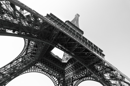 black history: Eiffel tower, Paris, France. Black and white image