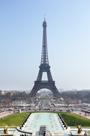 View to The Eiffel tower from Trocadero, Paris, France. photo