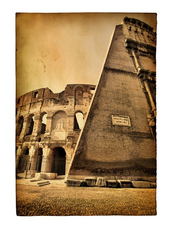 Vintage postcard with The Colosseum view isolated over the white background photo