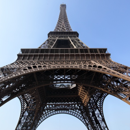 Eiffel tower close-up against blue sky, Paris, France. Stock Photo - 9176406