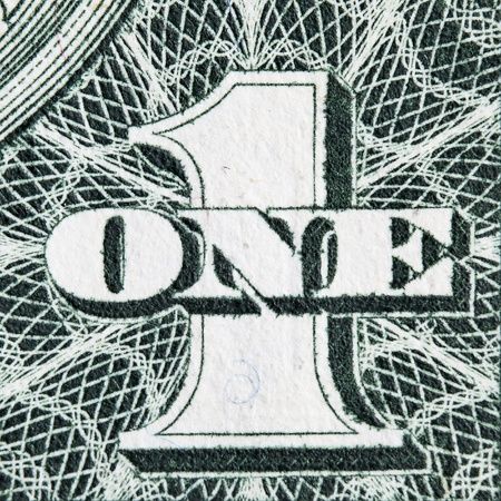 number one: Digit One from dollar banknote close-up Stock Photo